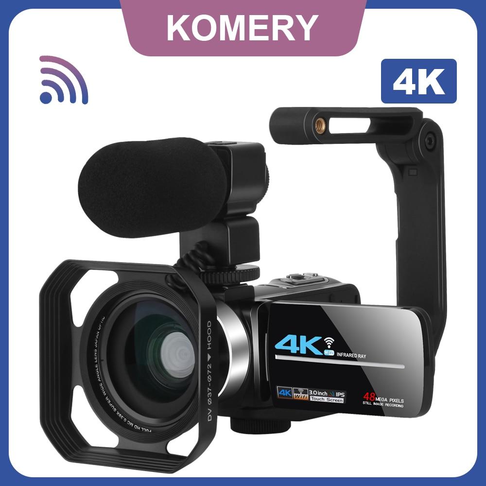 Komery 4K Camcorder Webcam For YouTube Vlogging Video Camera 48MP 3.0Inch IR Night Vision Wifi Recorder Cameras
