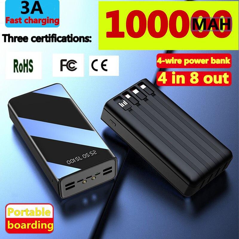 جديد قوة البنك 100000mAh TypeC المصغّر USB شحن سريع Powerbank LED عرض بطارية محمولة خارجية شاحن ل هاتف لوحي