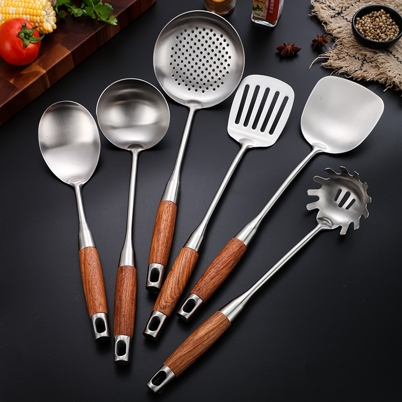 روزوود أدوات المطبخ مجموعة العزل الحراري ومكافحة السمط مقبض مغرفة ملعقة تحريك القلي مجرفة ملعقة شوربة للمطبخ