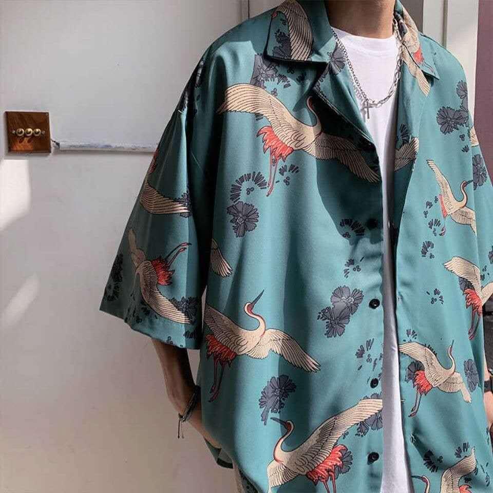 Shirt man ins Japanese Short Sleeve Korean fashion label summer crane print loose shirt half sleeve versatile coat