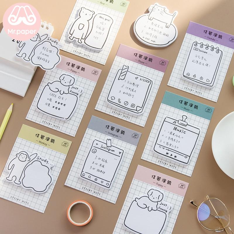 Mr papier 30 pièces/bloc-Notes 8 dessins Animal chiot vie bloc-Notes Notes autocollantes bloc-Notes journal créatif papeterie auto-adhésif bloc-Notes