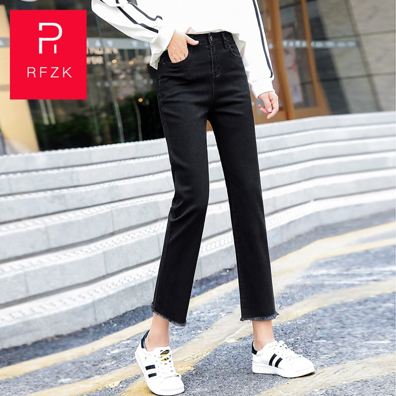 RFZK Jeans Women Straight 2020 Spring and Autumn New High Waist Nine-point Elasticity Thin Wild Loose Edge Wide Legs