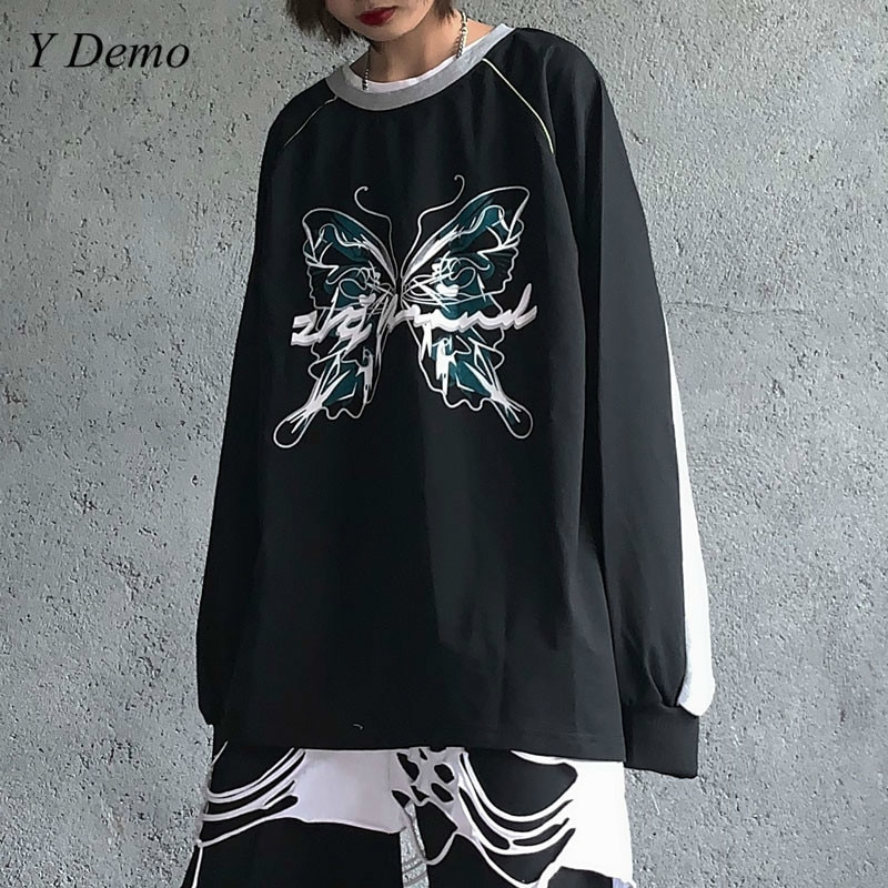 Streetwear Harajuku gran tamaño mariposa impresión Unisex pareja Patchwork sudadera