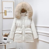 net red same down jacket womens 2021 new winter korean version waist small man thickened wool collar