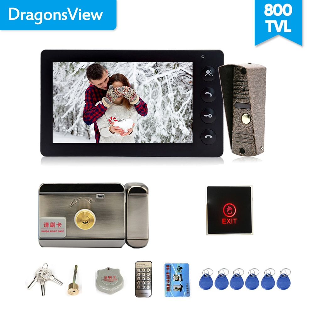 Dragonsview Wired Video Doorbell Intercom System Video Camera 7 Inch Indoor Monitor Black Unlock Talking Video Door Entry Panel