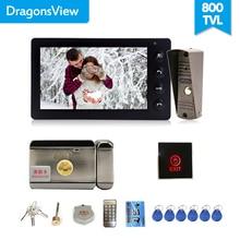 Dragonsview kablolu Video kapı zili interkom sistemi Video kamera 7 inç kapalı monitör siyah kilidini konuşurken Video kapı giriş paneli