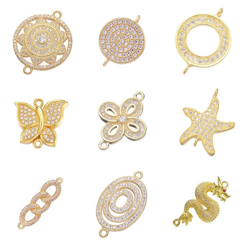 Женский браслет Juya «сделай сам», аксессуары для изготовления ожерелья, сережек, аксессуары с микрозакрепкой из циркония, декоративные соед...