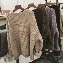 Herbst Winter Gestrickte Pullover Für Frauen Pull Femme Oversize Lose Langarm Lange Warme Pullover Jumper