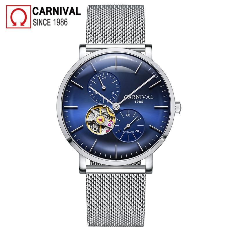 Carnival Brand Fashion Watch Man Luxury Mechanical Wristwatch Waterproof Casual Automatic Hollow Sapphire 2021 Relogio Masculino
