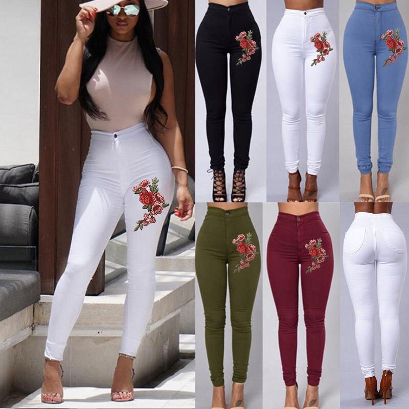 Женские джинсы-карандаш с высокой талией, черные, белые облегающие брюки-карандаш большого размера XXL, XXXL, 5 видов цветов
