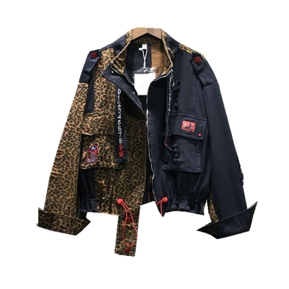 Женская джинсовая куртка с леопардовым принтом, молодежная Свободная джинсовая куртка с квадратным вырезом и длинными рукавами в Корейско...