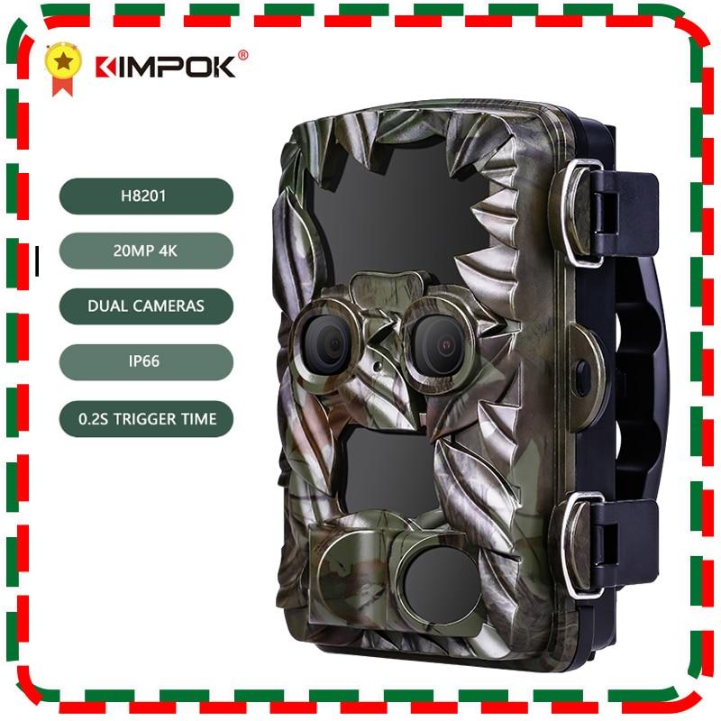Review KIMPOK Hunting Camera H8201 20MP 4K Wild Animal Trail Dual Camera Night Vision Waterproof Wildlife Infrared Photo Traps