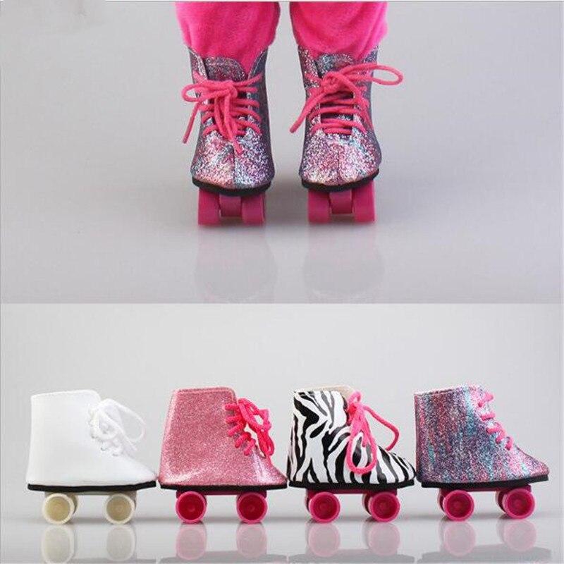 Born New Baby Fit, zapatos de muñeca de 18 pulgadas y 43cm, Línea de zapatos de polea en blanco, negro y rojo, accesorios para regalo de cumpleaños de bebé