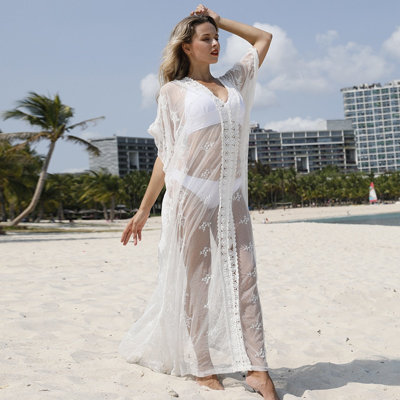 Superaen novo estilo vestido de renda branca camisa vestido sexy praia protetor solar robe biquíni maiô feminino ao ar livre vestido de praia sólida