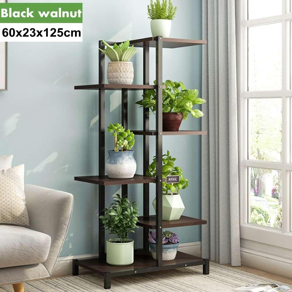 5 Tiers Wooden Iron Bookshelf Display Shelf Home Indoor Outdoor Plant Rack Yard Garden Patio Balcony Flower Stands 60x23x125cm