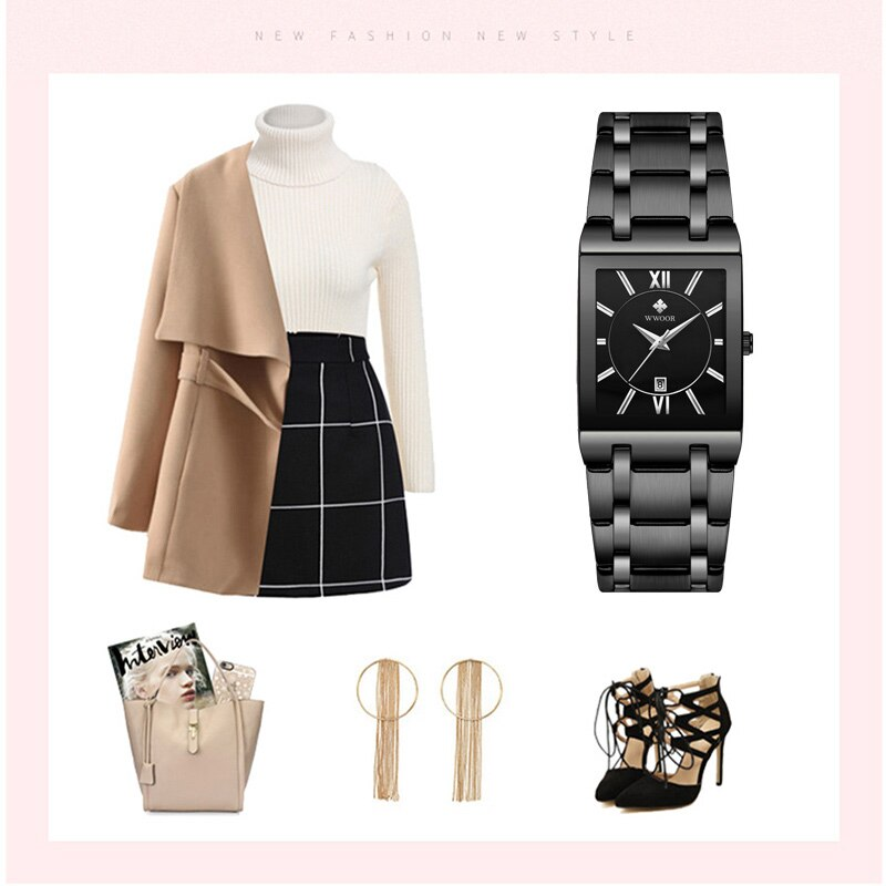 WWOOR Ladies Wrist Watches 2020 Luxury Brand Women Square Quartz Watch Women Black Waterproof Date Clock Female relogio feminino enlarge