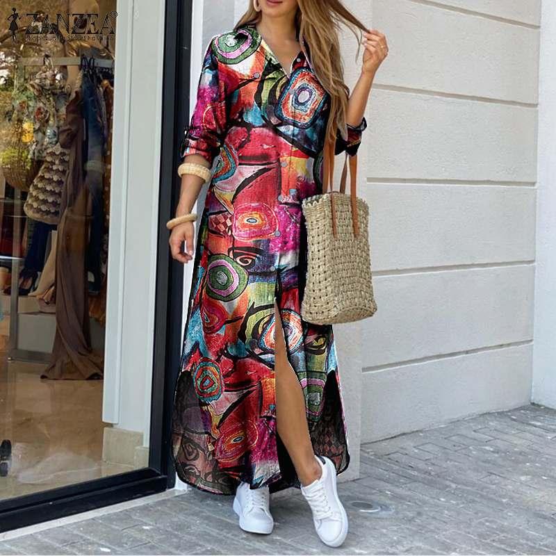 AliExpress - Elegant Women Maxi Shirt Dress Casual Floral Printed Robe Longue ZANZEA Autumn Vintage Ladies Long Sleeve Vestidos