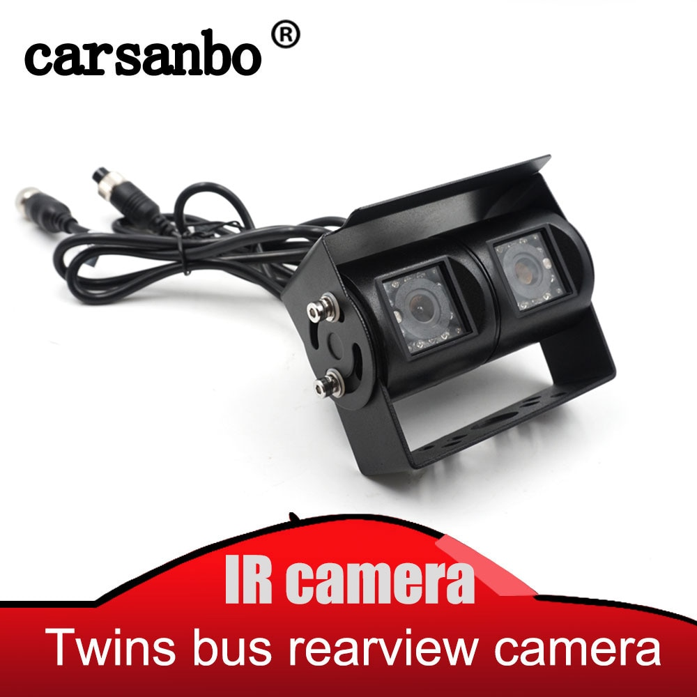 Carsanbo Bus Truck twins lens rear view ccd camera 4PIN Parking backup Reverse camera two camera In one adjustable angle DC 12V