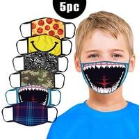 5pc Mouth Mask Kids Printed Masks Mascarilla Washable And Reusable Masks Kids Face Mask Cartoon Cotton Mask Reusable Face Mask