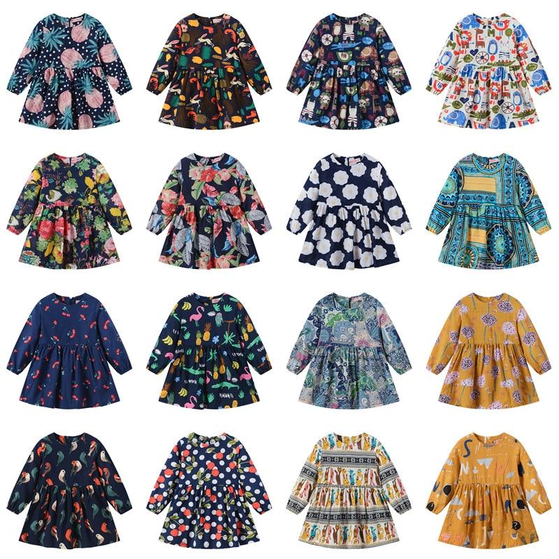 Girls Fashion  Spring and Autumn New Children's Skirt  Print Long Sleeve Cute Princess Dress Kids Clothes