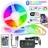 Светодиодный полоски светильник Bluetooth RGB 5050/2835 гибкие светодиодные ленты Luces светодиодный лента светодиод 12В 5 м-20 м декоративные Подсветка с...