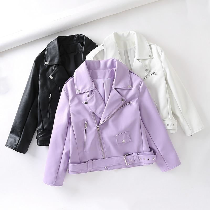New Short Soft Faux Leather Jacket Women Fashion Zipper Motorcycle PU Leather Jacket Ladies Basic Street Coat White Black Purple enlarge