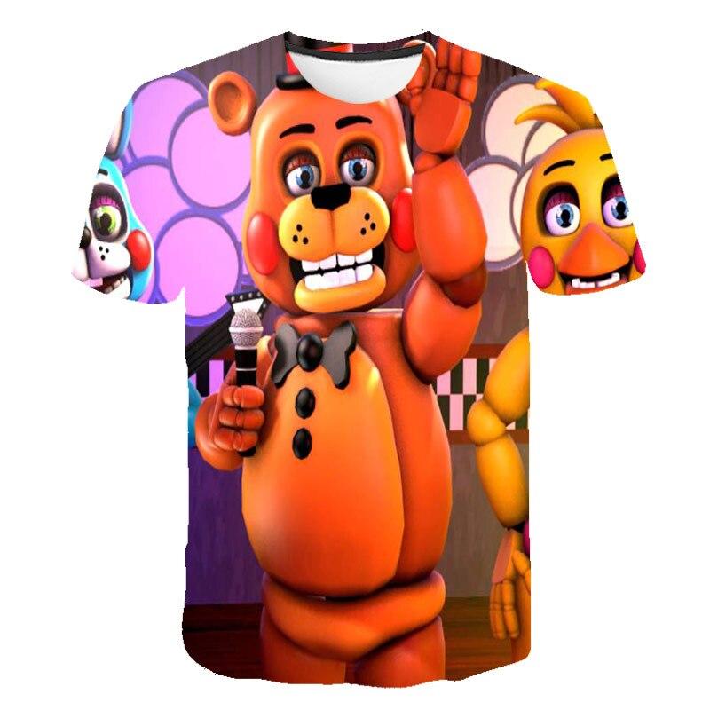 T-shirt avec dessin animé Freddy Fnaf pour enfants, vêtements décontractés pour adolescents, garçons et filles, 4-14T