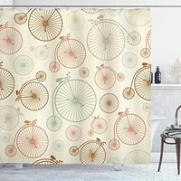vintage shower curtain vintage bicycles with antique wheels indie classical illustration fabric bathroom decor set with hooks