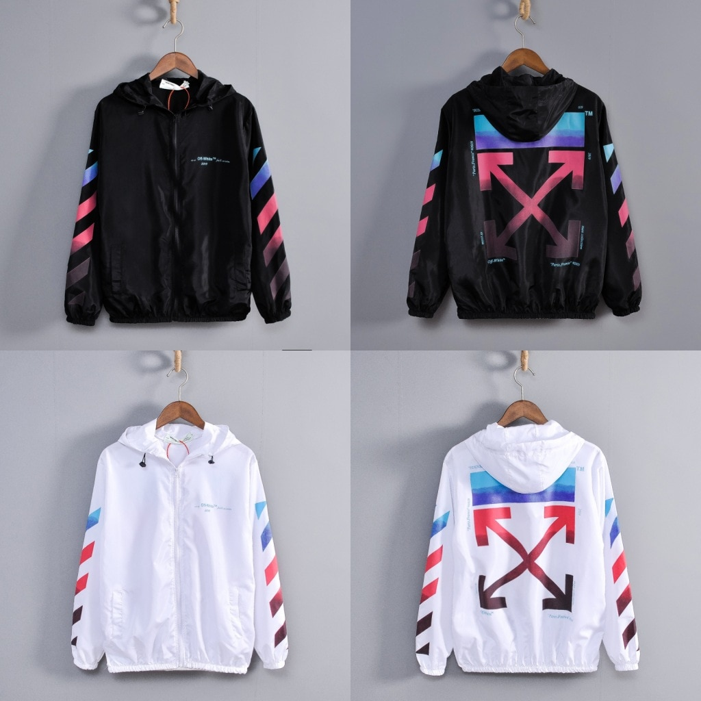 off white hooded thin couple sunscreen ow white color arrow print windbreaker coat