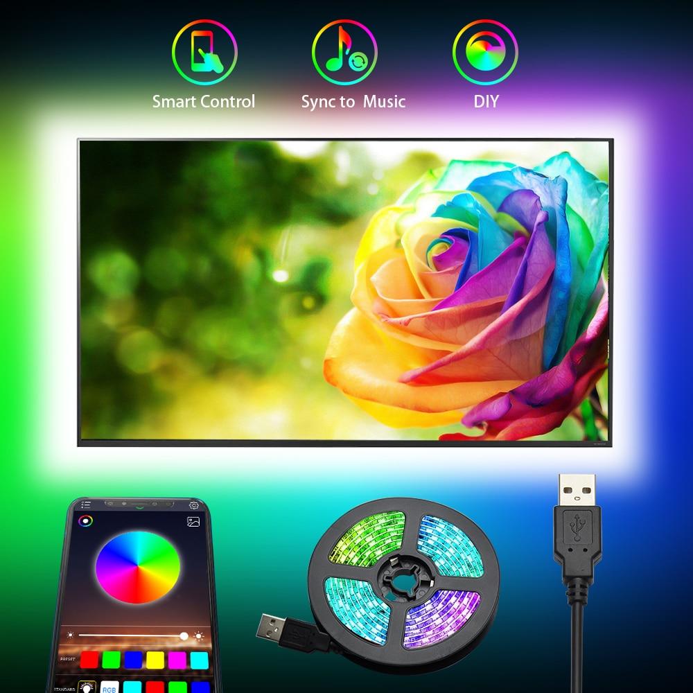 JESLED RGB Led Streifen Licht 5050SMD 3M Band Bluetooth APP Control Für PC Laptop TV Zimmer Led Lampe DIY farben Musik Sync Ändern