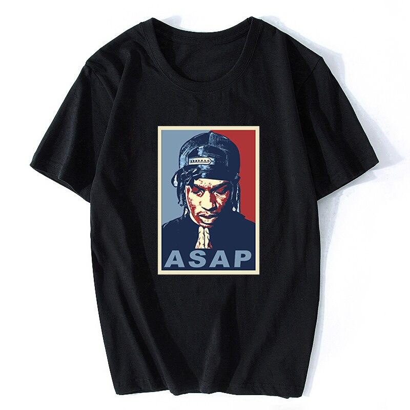 Camiseta divertida e informal con estampado ASAP ROCKY Rap Hip Hop de verano para Hombre