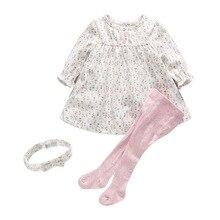 Платье для новорожденных и маленьких девочек платья для маленьких девочек с цветочным принтом + леггинсы + повязка на голову, комплект одежд...