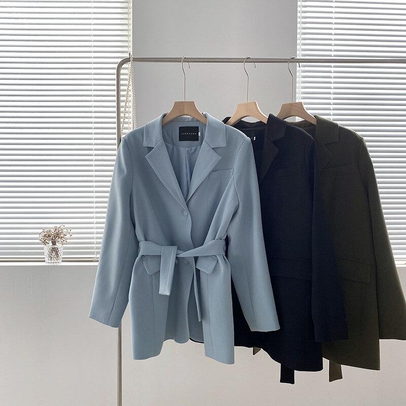 3 Colors Elegant Belt Suit Jackets Women 2021 Autumn Long Sleeve Korean Retro Blazer Coat 3833