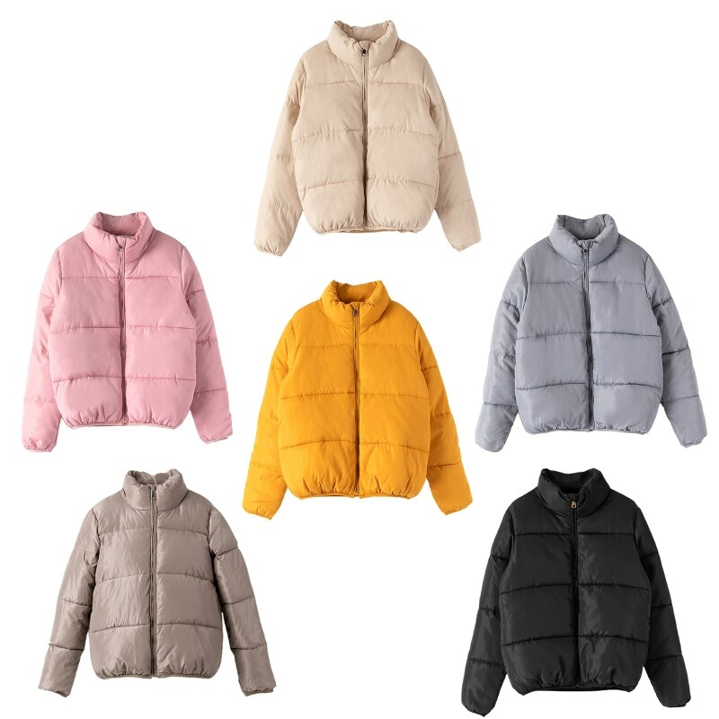 Women Winter Long Sleeve Stand Collar Padded Short Jacket Zip Up Solid Color Puffer Parkas Coat Outerwear with Pockets stand collar zip front epaulet trucker jacket