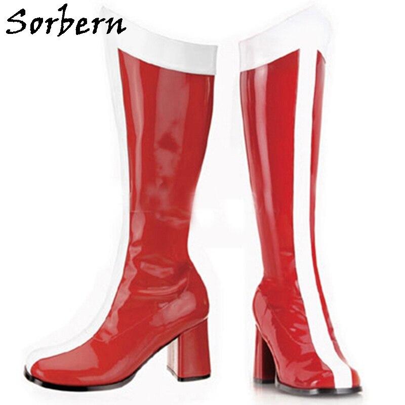 Sorbern حذاء برقبة للركبة النساء منخفضة الكعب بحار الكرتون أنيمي أحذية القمر كتلة كعب تأثيري أحذية مخصصة الساق صالح