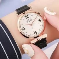 high fashion magnet mesh belt diamond ladies watch rhinestone digital scale face magnet watch gift clock