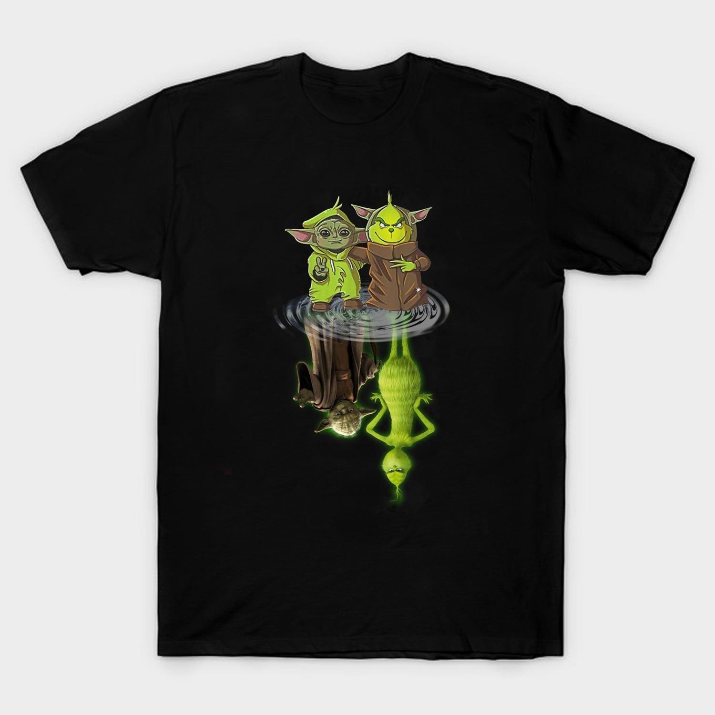 Camiseta divertida de Yoda y bebé Grinch con reflejo de agua para hombre, Camiseta de algodón de verano de manga corta con cuello redondo, nueva S-3XL