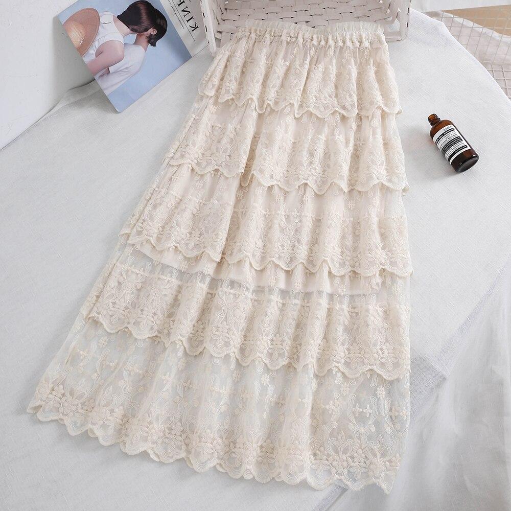 Falda de encaje bohemio para mujer 2020 niñas otoño primavera adorables largo beige negro falda de encaje