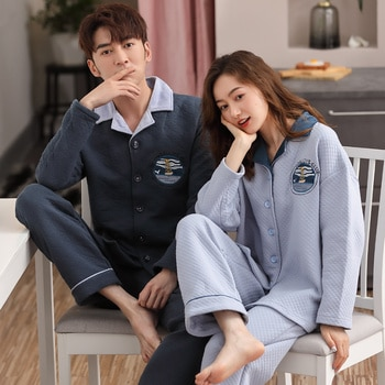 A Set CKE Pure Cotton Air Cotton Interlayer pajamas Couples Lovers Turn-down Collar Button-Down Winter Pajamas Warm comfy Pajama