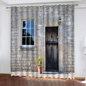 3D Theme Curtain Modern window door Photo Curtains For Living Room Bedroom Brick Wall Design Blackout Cortinas
