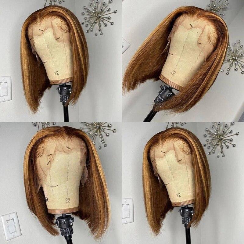 تسليط الضوء على قصيرة بوب 13*6 T جزء الدانتيل الجبهة خصلات الشعر المستعار الإنسان مع شعر الطفل البرازيلي ريمي الدانتيل الباروكات للنساء