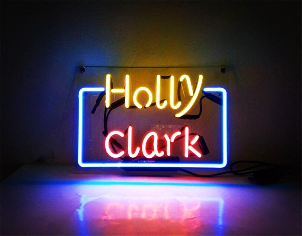 مصباح نيون مع لافتة شخصية ، شريط بيرة ، ديكور منزلي ، متجر مفتوح ، 13 × 9 بوصة ، هولي كلارك
