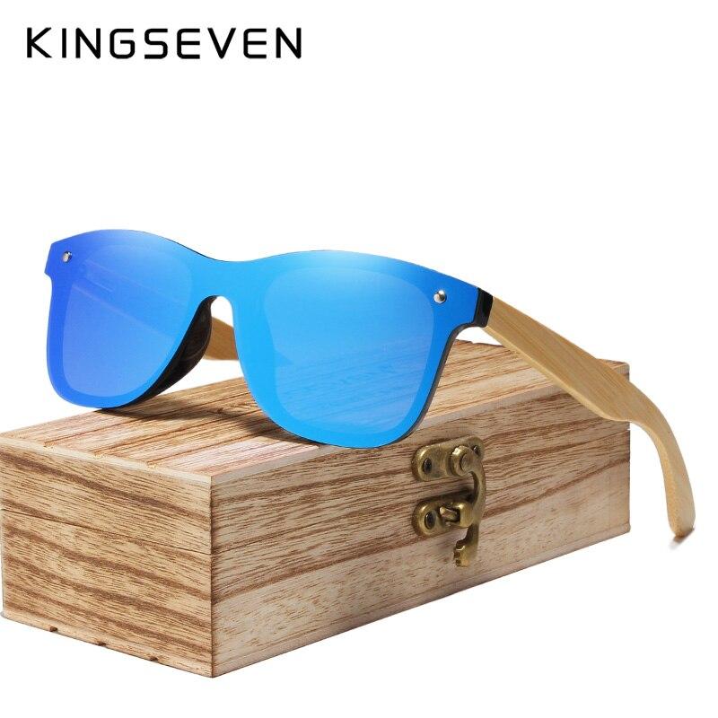 KINGSEVEN Fashion 100%Handmade Bamboo Sunglasses Polarized Driving Eyewear Mirror UV400 Lens Wooden Glasses With Wood Case