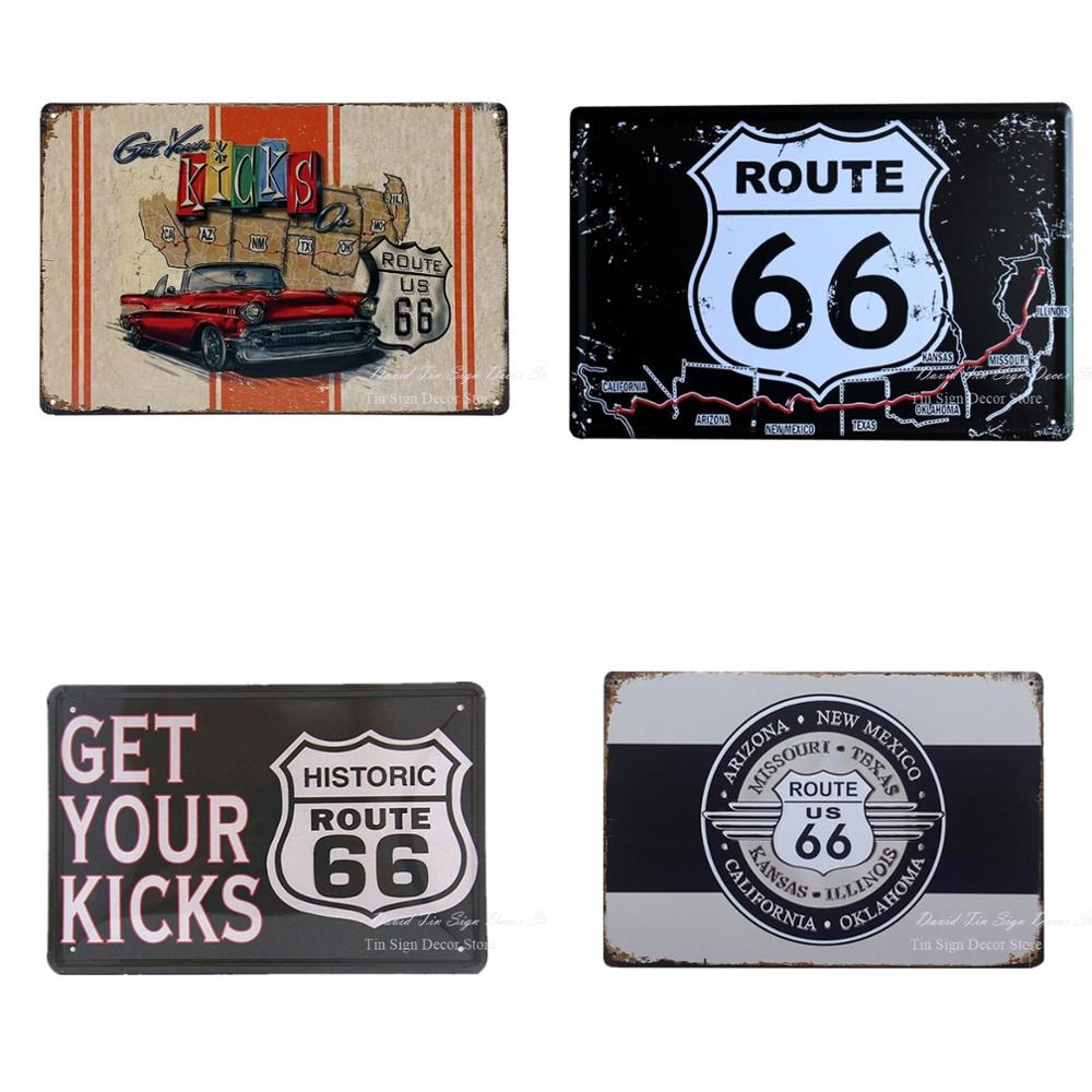 Shabby Wall Metal Tin Signs GET YOUR KICKS Vintage Bar pub home Wall Decor Shabby Art Plaque Retro Wall Decor Poster