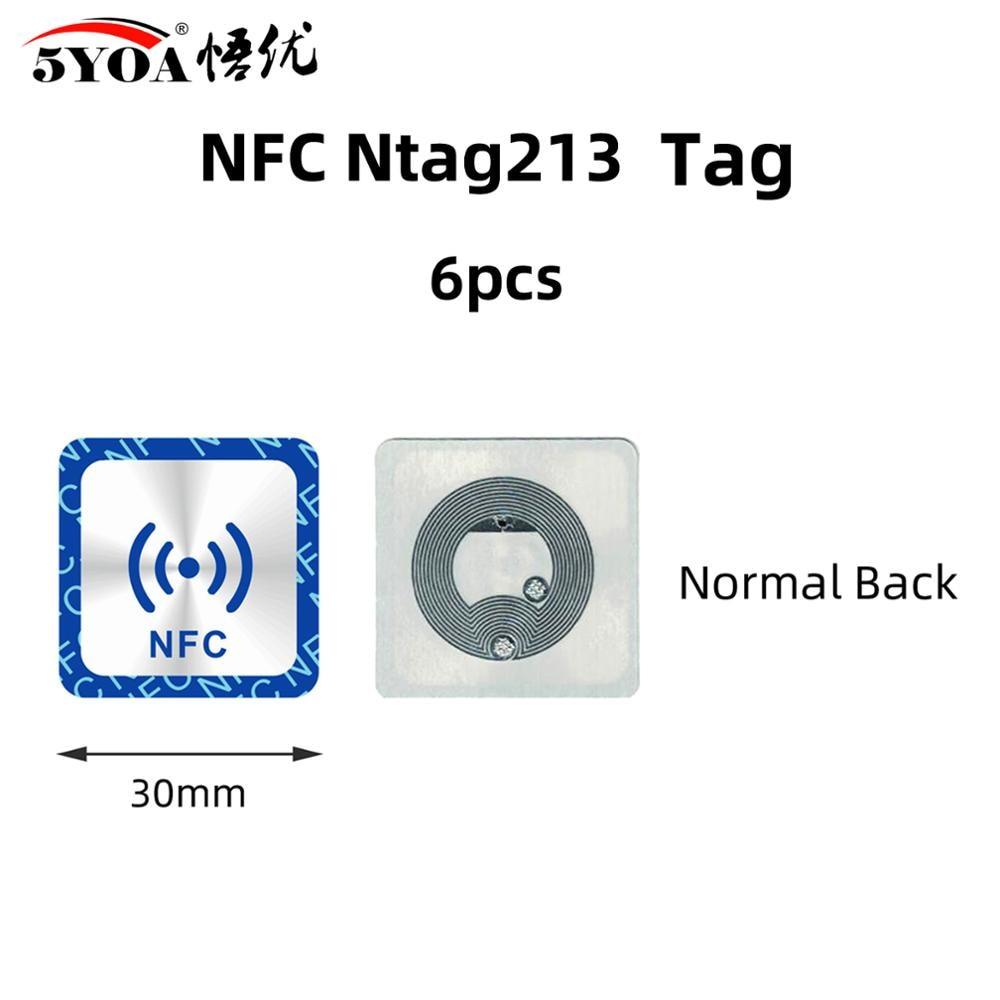 6 uds etiqueta nfc NFC213 etiqueta de la etiqueta engomada 13,56 MHz ISO14443A 213 insignias Ficha de llave patrulla Universal etiqueta