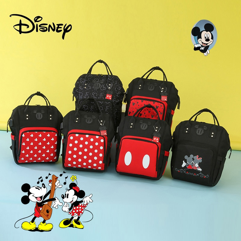 Disney Mickey Diaper Bag Backpack Mummy Care Bag Baby Waterproof Diaper Bags Travel Stroller Maternity Bag Baby Storage Bag 2020 disney mickey mouse diaper bag waterproof baby care mummy bag maternity backpack large nappy bag oxford cloth baby bag