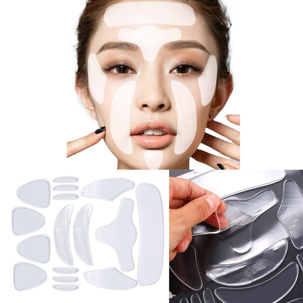 16Pcs Reusable Silicone Anti-Wrinkle Face Forehead Sticker Cheek Chin Sticker Facial Eye Patches Wri