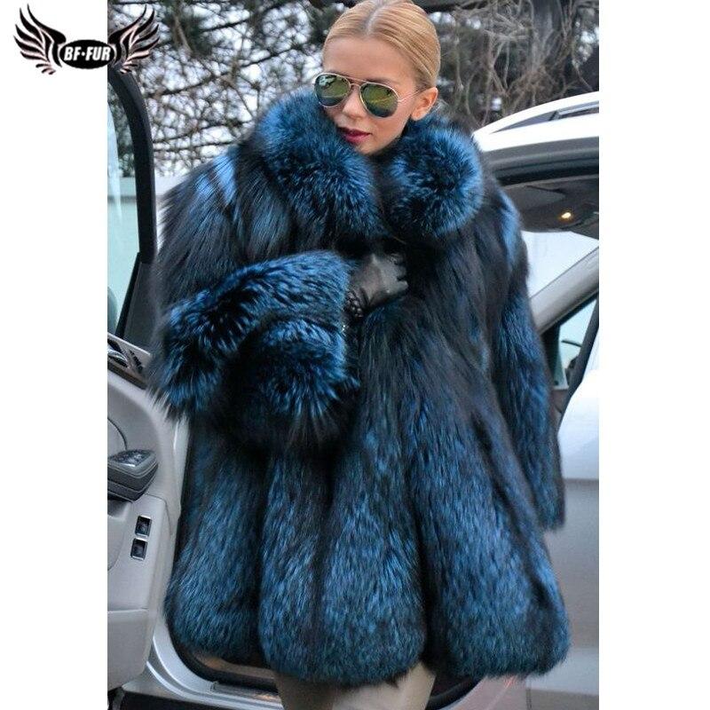 BFFUR الملكي الأزرق الطبيعي الثعلب الفراء معاطف الشتاء سميكة الدافئة النساء حقيقية الجلد كله الفضة الثعلب الفراء معاطف فاخرة الفراء معاطف 2021