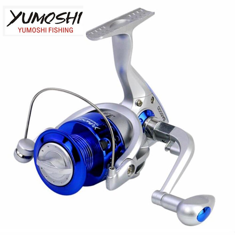 Carrete de pesca YUMOSHI, carrete giratorio, carrete de plástico, mango derecho intercambiable izquierdo, serie 1000 -7000
