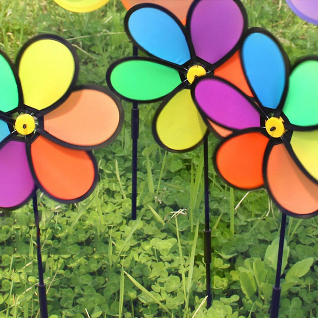 Colorful Rainbow Flower Windmill Spinner Wind Home Garden Yard Patio Outdoor Decoration Kids Toy Lightweight Easy Removal